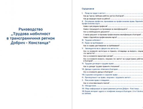 """Ръководство """"Трудова мобилност в трансграничния регион Добрич – Констанца"""" – България"""
