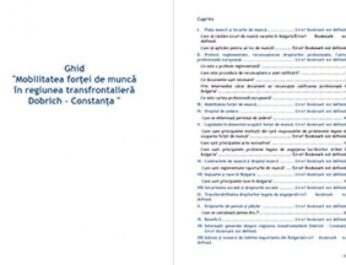 """Manual """"Mobilitatea forţei de muncă în zona transfrontаlieră Dobrich- Constanţa"""" – Bulgaria"""